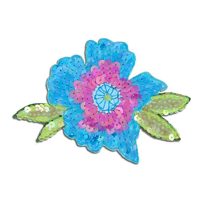 Sequin motifs, 11.5x7cm, 4.5x3, medium flower with leaves, blue