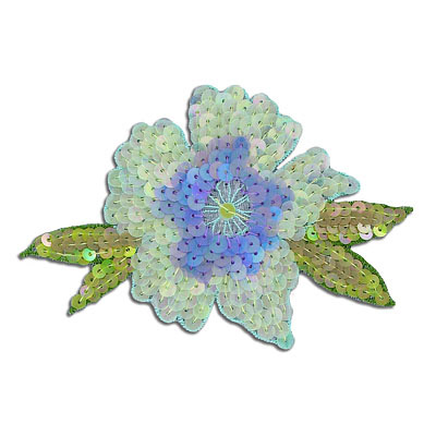 Sequin motifs, 11.5x7cm, 4.5x3, medium flower with leaves, light green