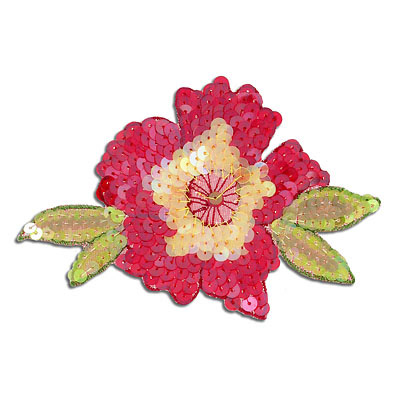 Sequin motifs, 11.5x7cm, 4.5x3, medium flower with leaves, red