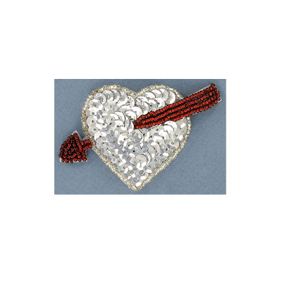 Sequin motifs, 8.5x5cm, 3.5x2, heart with arrow, silver