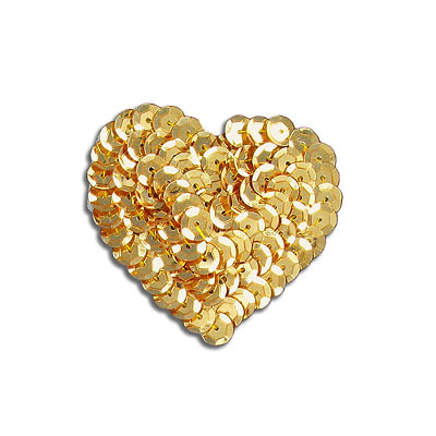 Sequin motif, 5x4.5cm (2x1.75), heart, gold