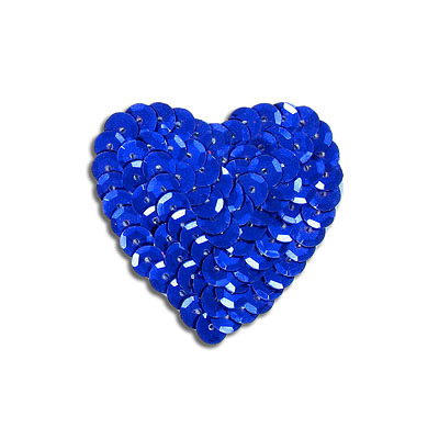 Sequin motif, 5x4.5cm (2x1.75), heart, royal blue