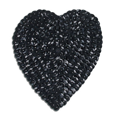 Sequin motif, 8.5x10cm (3.5x4), large heart, black