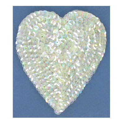 Sequin motif, 8.5x10cm (3.5x4), large heart, crystal iris