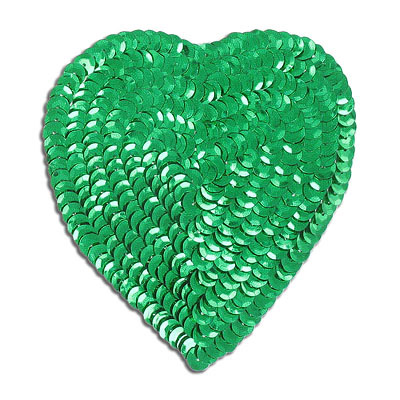 Sequin motif, 8.5x10cm (3.5x4), large heart, kelly green