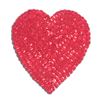 Sequin motif, 8.5x10cm (3.5x4), large heart, red