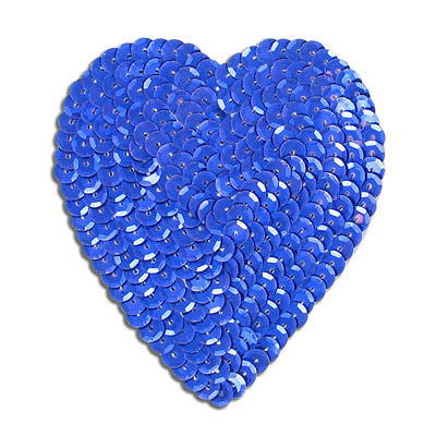 Sequin motif, 8.5x10cm (3.5x4), large heart, royal blue