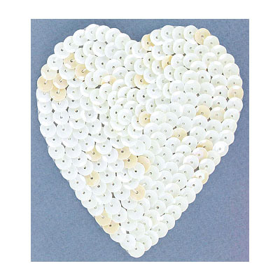 Sequin motif, 8.5x10cm (3.5x4), large heart, white iris