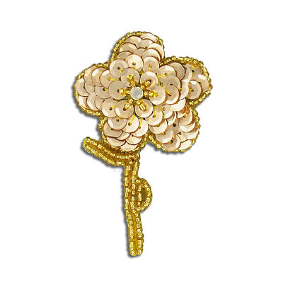 Sequin motif, 5x7.5cm (2x3), flower with leaves, gold