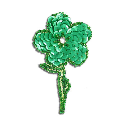 Sequin motif, 5x7.5cm (2x3), flower with leaves, kelly green