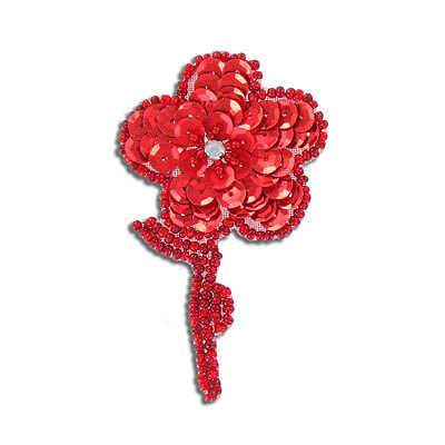 Sequin motif, 5x7.5cm (2x3), flower with leaves, red