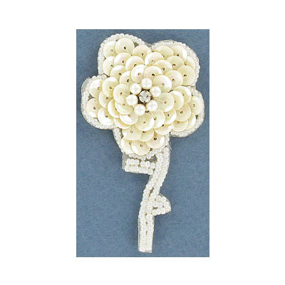 Sequin motif, 5x7.5cm (2x3), flower with leaves, white iris