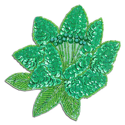 Sequin motif, 14x14cm (5.5x5.5), extra large flower with pearls, kelly green