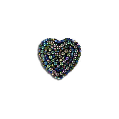 Sequin motif, 3x3cm (1.25X1.25), small heart, AB black