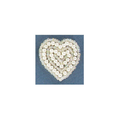 Sequin motif, 3x3cm (1.25X1.25), small heart, crystal iris