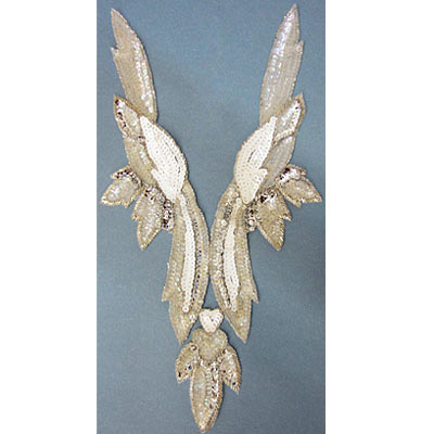 Sequin motifs, extra large yoke V shape, 21x41cm, 8.25x16, crystal iris