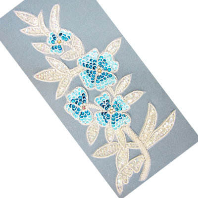 Sequin motifs, 13x29.5cm, 5x11.5, extra large flowers with stems and leaves, pastel blue
