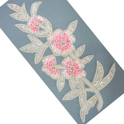 Sequin motifs, 13x29.5cm, 5x11.5, extra large flowers with stems and leaves, pastel pink