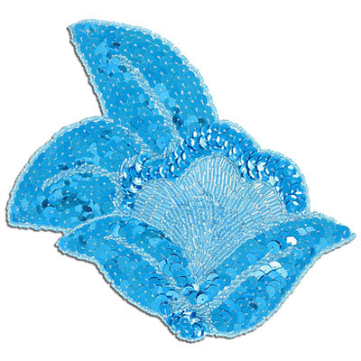 Sequin motifs, 17x17cm, 6.75x6.75, extra large flower with leaves, aqua