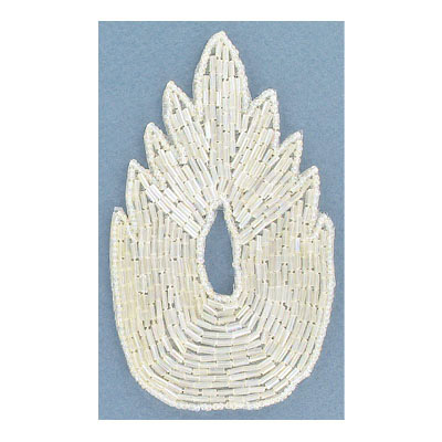 Sequin motifs, 7x12cm, 2.75x4.75, beaded asymetrical leaf, crystal iris