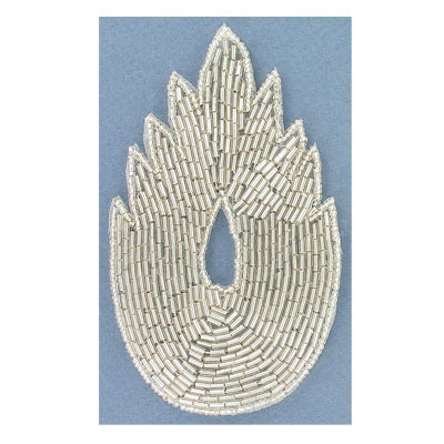 Sequin motifs, 7x12cm, 2.75x4.75, beaded asymetrical leaf, silver