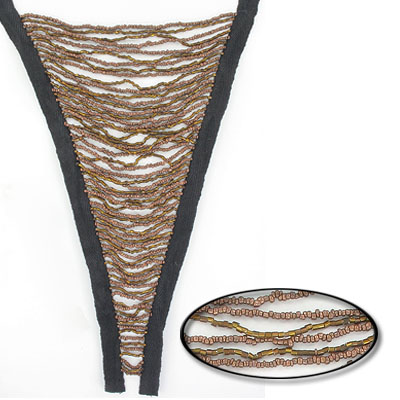 Fringe v-shaped gold/brown on black tape