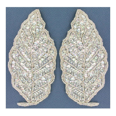 Sequin motifs, 7.5x14.5cm, 3x5.75, large leaf, crystal iris