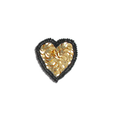 Sequin motifs, 4x4cm, 1.5x1.5, heart, black/gold