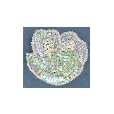 Sequin motifs, 6x6cm, 2.5x2.5, flower with leaves, crystal iris