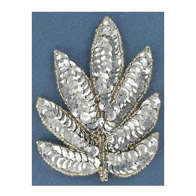 Sequin motifs, 7x9.5cm, 2.75x3.75, leaves, silver