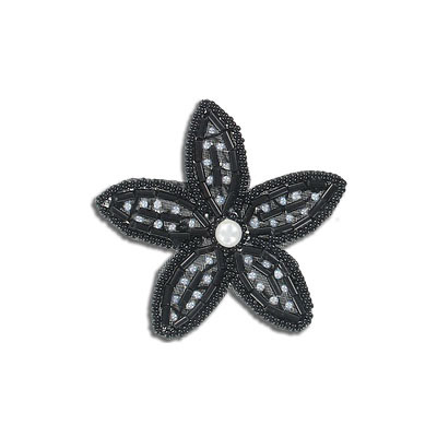 Sequin motifs, beaded flower, 6cm, 2.25, black
