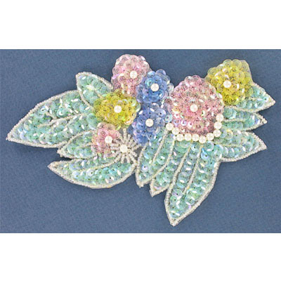 Sequin motifs, 17x10.5cm, 6.5x4.5, large flowers with leaves, pastel mutli color