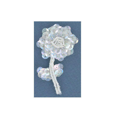 Sequin motifs, 4x7cm, 1.5x2.75, small flower with stem, crystal iris