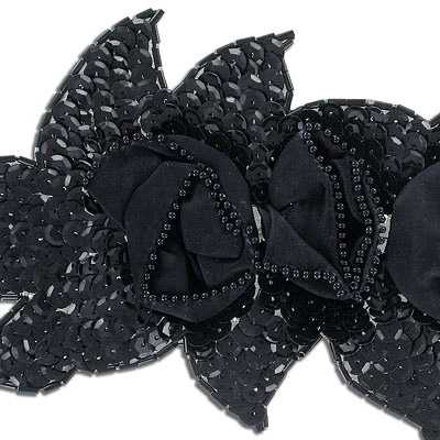 Sequin motifs, 20.5x10cm, 8x4, large flowers with leaves, black