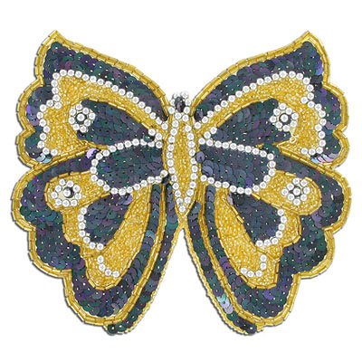 Sequin motifs, 17x15.5cm, 6.5'x6, extra large butterfly, black/gold