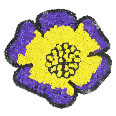 Sequin motifs, 15.5x13.5cm, 6x13.5, extra large flower, purple/yellow