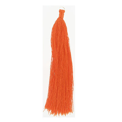 Tassel, 5 inch, with 8mm jumpring, tangerine