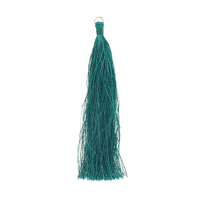Tassel, 5 inch, with 8mm jumpring, teal