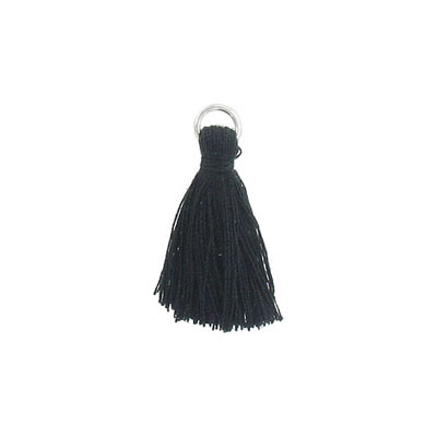 Tassel, 25-30mm, cotton, with rhodium plated jumpring, black