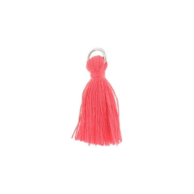 Tassel, 25-30mm, cotton, with rhodium plated jumpring, coral