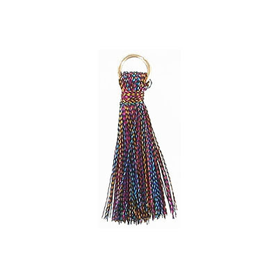 Tassel, 25-30mm, cotton, dark multi color, with gold plated jumpring