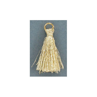 Tassel, 25-30mm, cotton, gold, with gold plated jumpring
