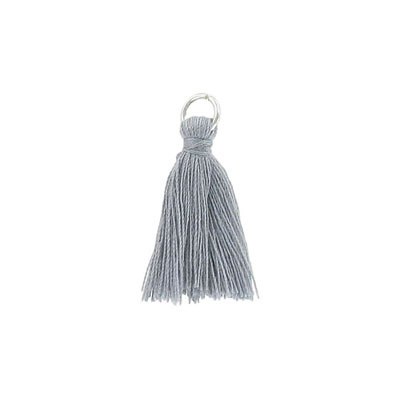 Tassel, 25-30mm, cotton, with rhodium plated jumpring, grey