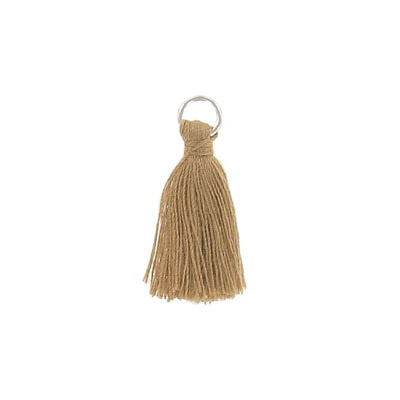 Tassel, 25-30mm, cotton, with rhodium plated jumpring, light brown
