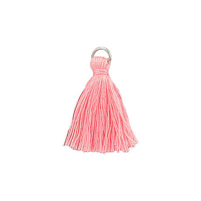 Tassel, 25-30mm, cotton, light pink, with 6mm imitation rhodium jumpring