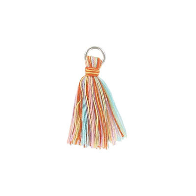 Tassel, 25-30mm, cotton, with rhodium plated jumpring, multi color