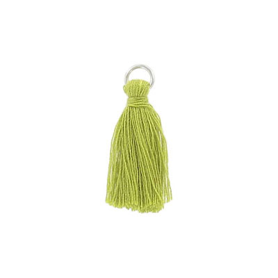 Tassel, 25-30mm, cotton, with rhodium plated jumpring, olive
