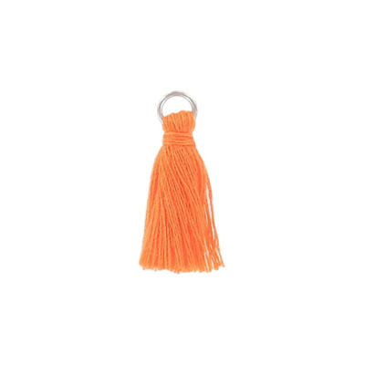 Tassel, 25-30mm, cotton, with rhodium plated jumpring, orange