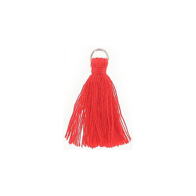 Tassel, 25-30mm, cotton, with rhodium plated jumpring, red