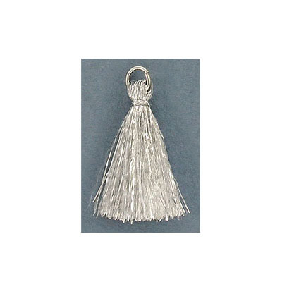 Tassel, 25-30mm, cotton, silver, with imitation rhodium plated jumpring